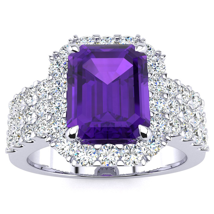 3 Carat Emerald Shape Amethyst and Halo Diamond Ring In 14 Karat White Gold