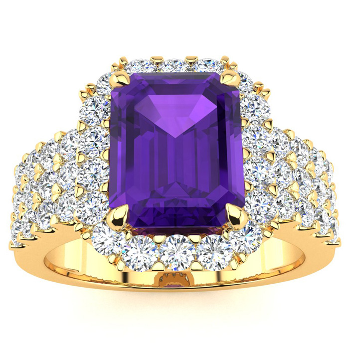 3 Carat Emerald Shape Amethyst and Halo Diamond Ring In 14 Karat Yellow Gold