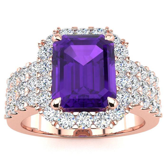 3 Carat Emerald Shape Amethyst and Halo Diamond Ring In 14 Karat Rose Gold