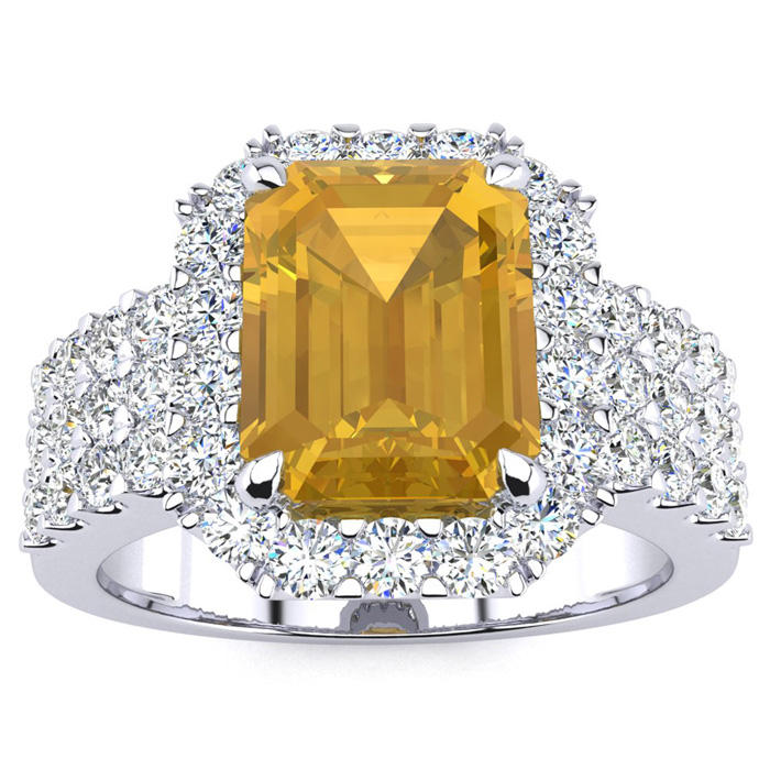 3 Carat Emerald Shape Citrine and Halo Diamond Ring In 14 Karat White Gold