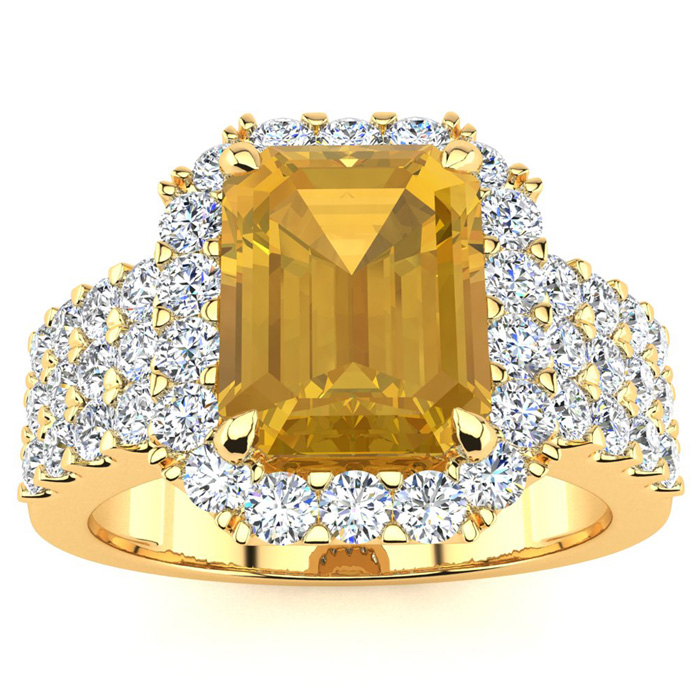 3 Carat Emerald Shape Citrine and Halo Diamond Ring In 14 Karat Yellow Gold