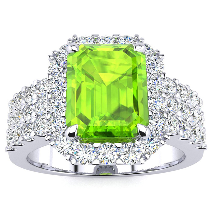 3 1/2 Carat Emerald Shape Peridot and Halo Diamond Ring In 14 Karat White Gold