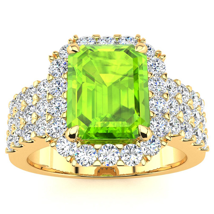 3 1/2 Carat Emerald Shape Peridot and Halo Diamond Ring In 14 Karat Yellow Gold