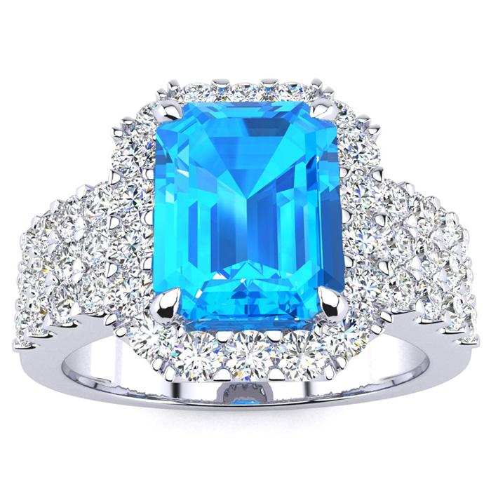 3 3/4 Carat Blue Topaz & Halo Diamond Ring in 14K White Gold (8.7