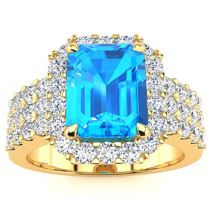 3 3/4 Carat Blue Topaz & Halo Diamond Ring in 14K Yellow Gold (8.