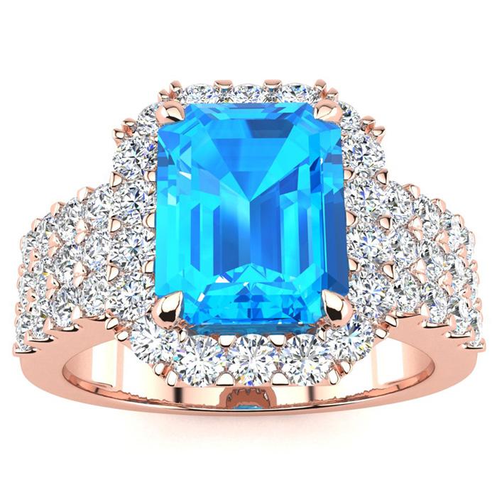 3 3/4 Carat Blue Topaz & Halo Diamond Ring in 14K Rose Gold (8.7