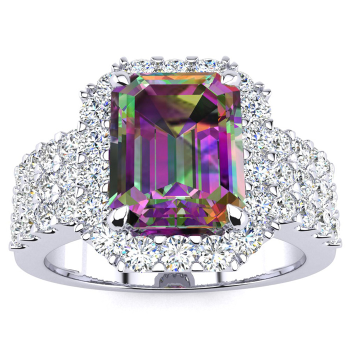3 Carat Emerald Shape Mystic Topaz and Halo Diamond Ring In 14 Karat White Gold 21416