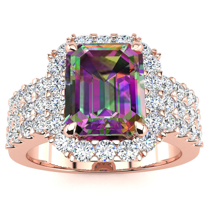 3 Carat Mystic Topaz & Halo Diamond Ring in 14K Rose Gold (8.7 g)