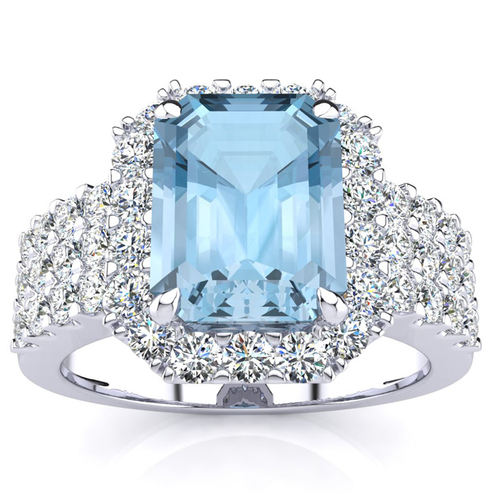 3 Carat Emerald Shape Aquamarine and Halo Diamond Ring In 14 Karat White Gold