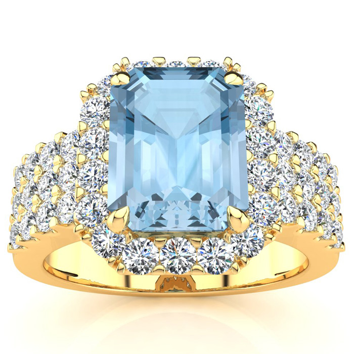 3 Carat Emerald Shape Aquamarine and Halo Diamond Ring In 14 Karat Yellow Gold