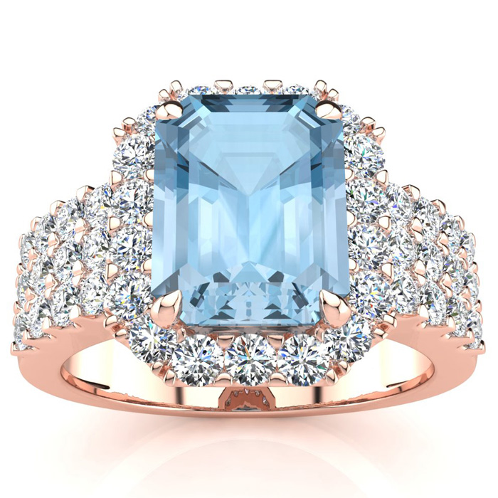 3 Carat Emerald Shape Aquamarine and Halo Diamond Ring In 14 Karat Rose Gold