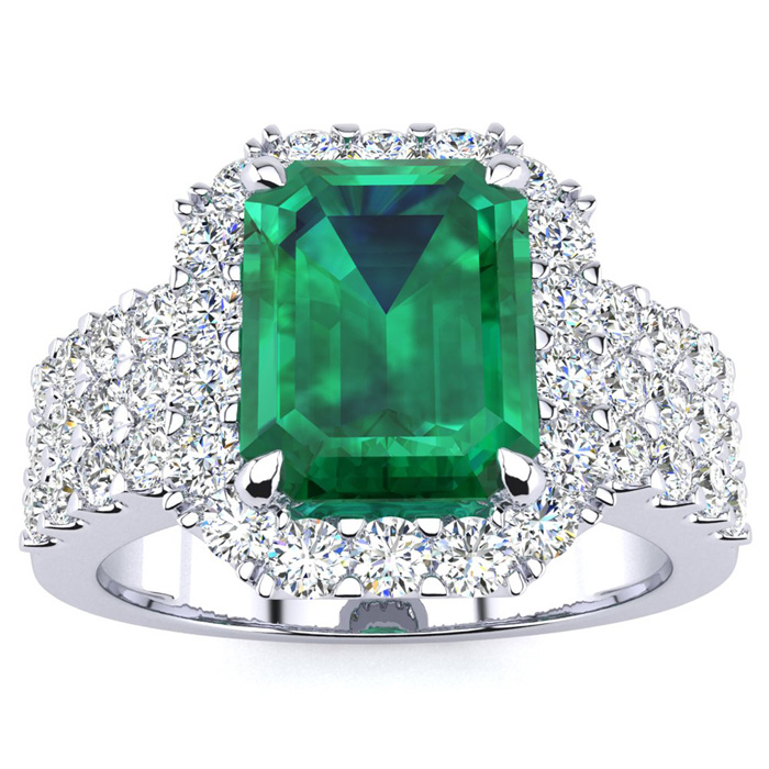 3 Carat Emerald Shape Emerald and Halo Diamond Ring In 14 Karat White Gold