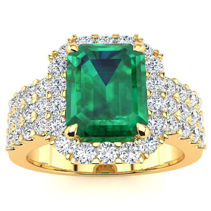 3 Carat Emerald Shape Emerald and Halo Diamond Ring In 14 Karat Yellow Gold