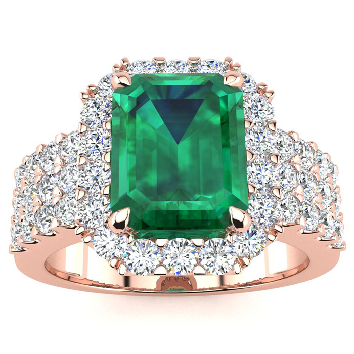 3 Carat Emerald Shape Emerald and Halo Diamond Ring In 14 Karat Rose Gold