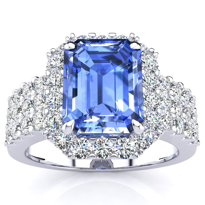 3 1/2 Carat Emerald Shape Tanzanite and Halo Diamond Ring In 14 Karat White Gold