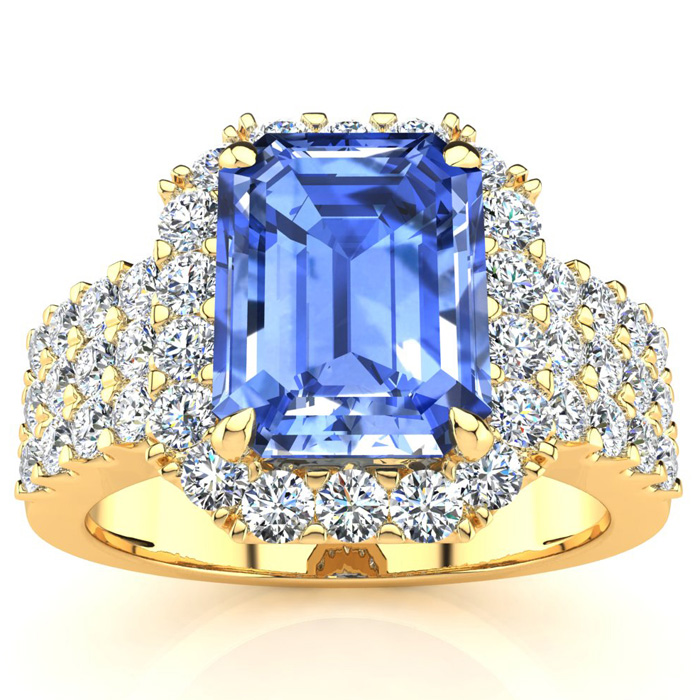 3 1/2 Carat Emerald Shape Tanzanite and Halo Diamond Ring In 14 Karat Yellow Gold