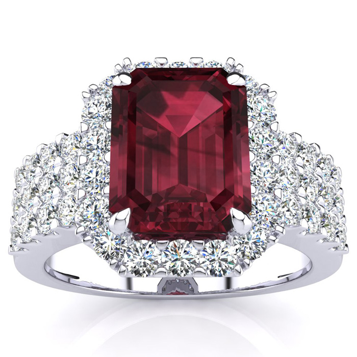 3 3/4 Carat Emerald Shape Garnet and Halo Diamond Ring In 14 Karat White Gold