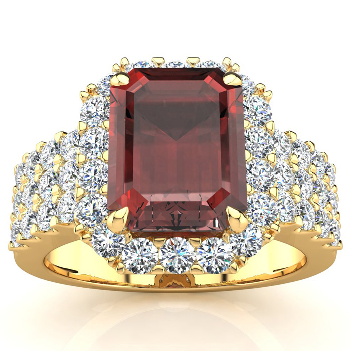 3 3/4 Carat Emerald Shape Garnet and Halo Diamond Ring In 14 Karat Yellow Gold