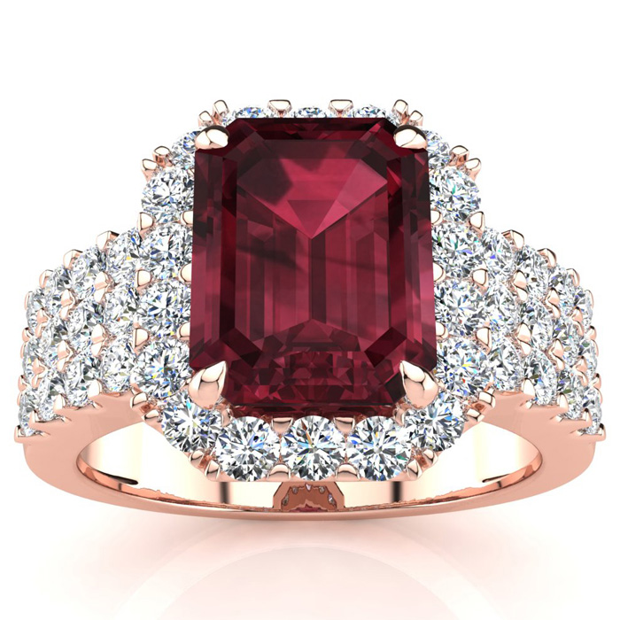 3 3/4 Carat Emerald Shape Garnet and Halo Diamond Ring In 14 Karat Rose Gold
