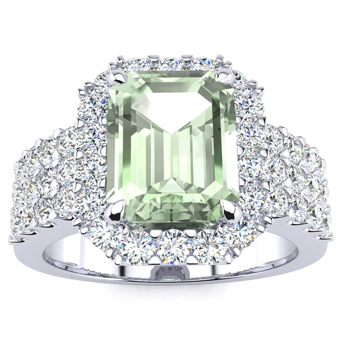3 Carat Emerald Cut Green Amethyst & Halo Diamond Ring in 14K White Gold (8.7 g),  by SuperJeweler