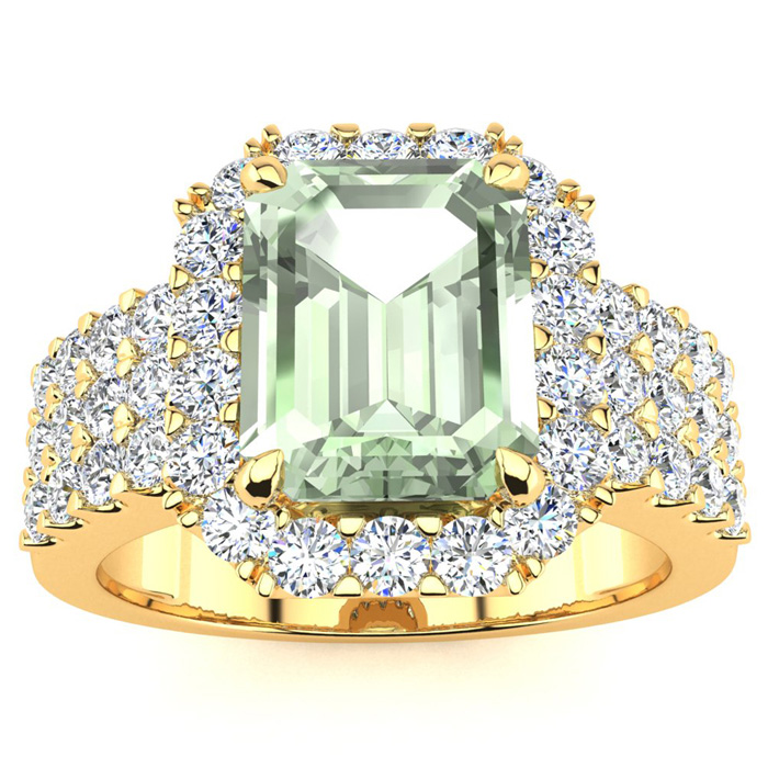 3 Carat Green Amethyst & Halo Diamond Ring in 14K Yellow Gold (8.