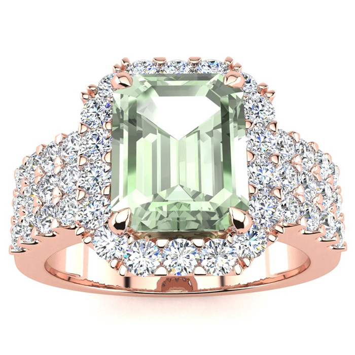 3 Carat Green Amethyst & Halo Diamond Ring in 14K Rose Gold (8.7