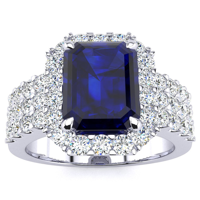3 3/4 Carat Emerald Shape Sapphire and Halo Diamond Ring In 14 Karat White Gold