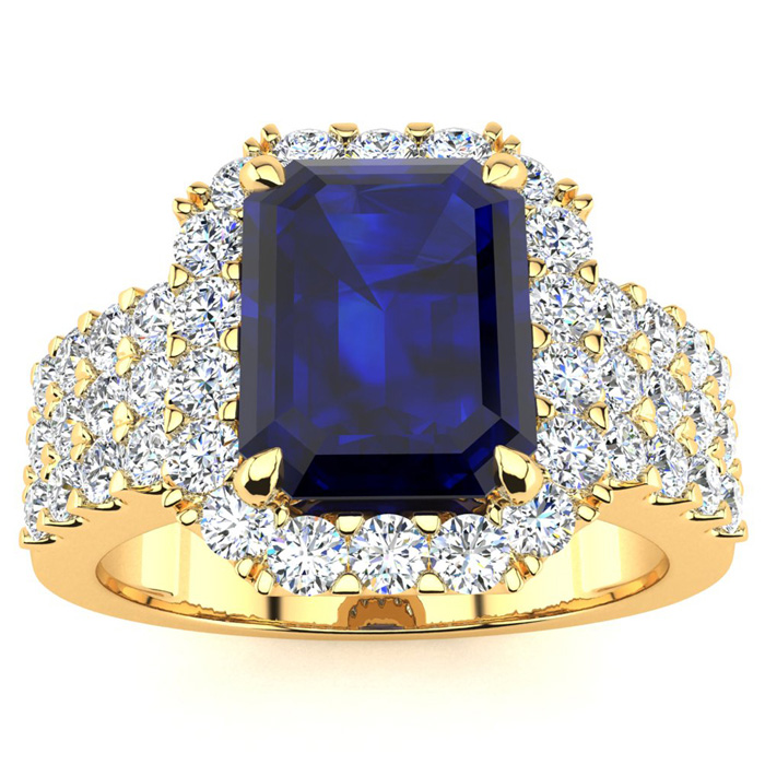 3 3/4 Carat Emerald Shape Sapphire and Halo Diamond Ring In 14 Karat Yellow Gold