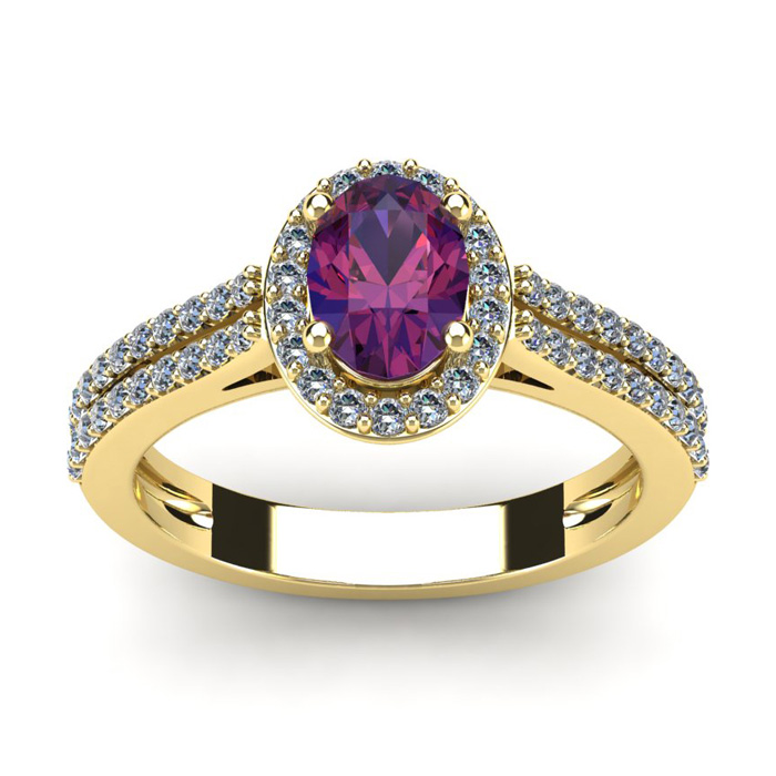 1 Carat Oval Shape Amethyst and Halo Diamond Ring In 14 Karat Yellow Gold