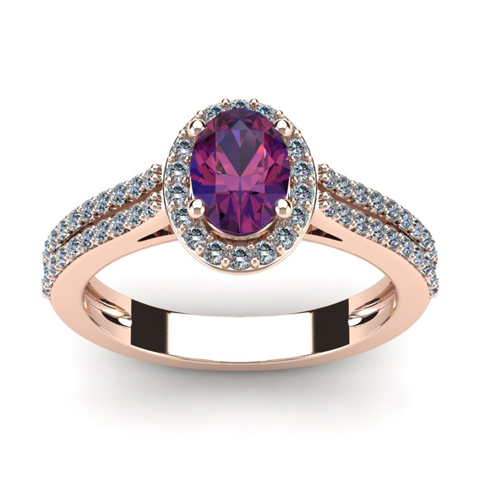 1 Carat Oval Shape Amethyst and Halo Diamond Ring In 14 Karat Rose Gold