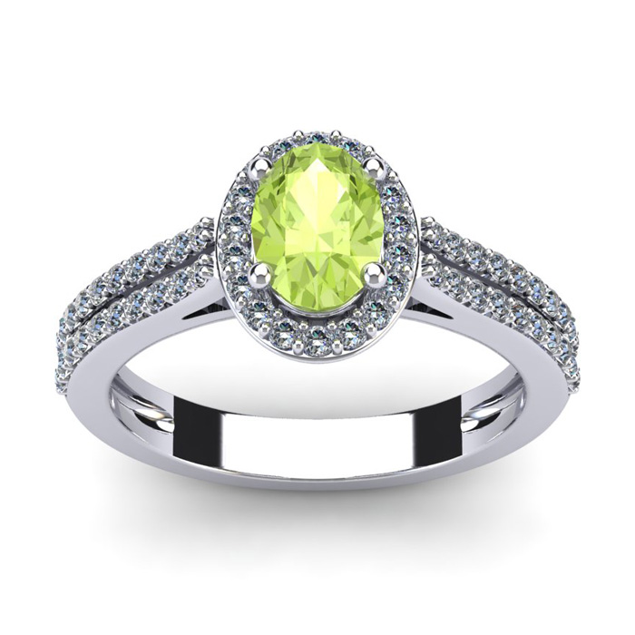 1 1/3 Carat Oval Shape Peridot and Halo Diamond Ring In 14 Karat White Gold