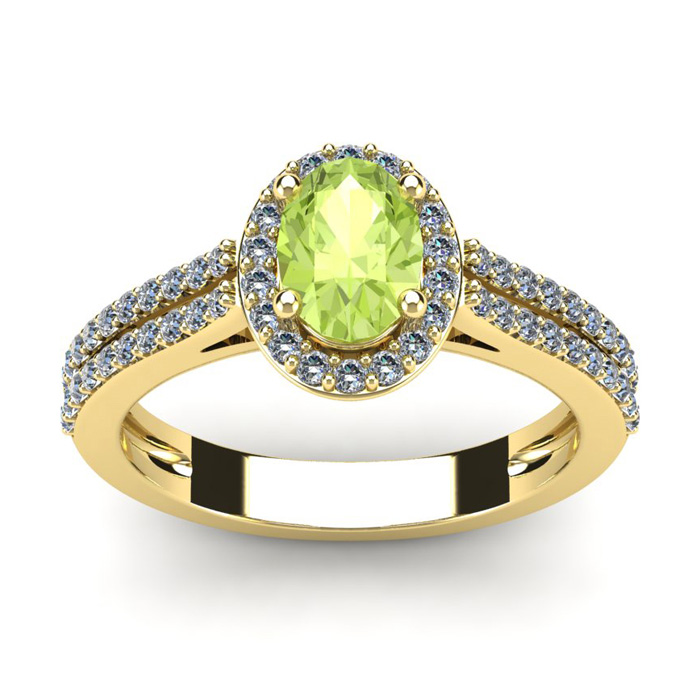 1 1/3 Carat Oval Shape Peridot & Halo Diamond Ring in 14K Yellow