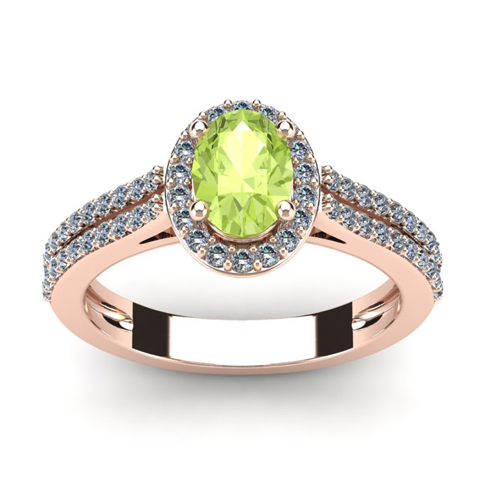 1 1/3 Carat Oval Shape Peridot and Halo Diamond Ring In 14 Karat Rose Gold