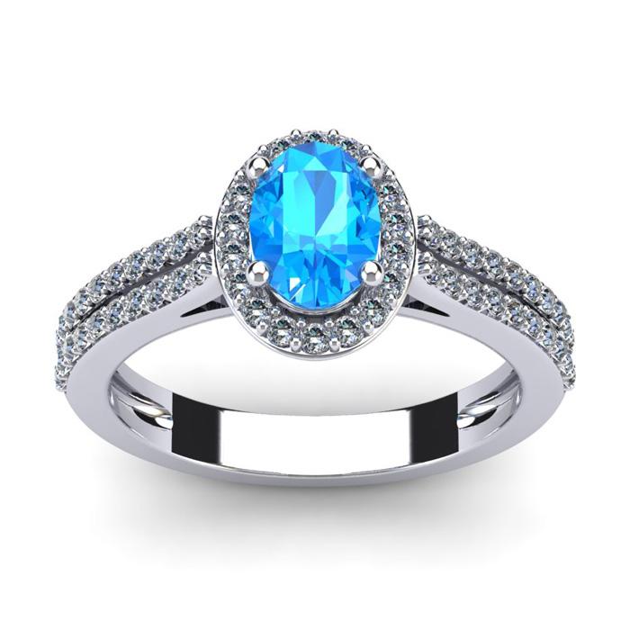 1.5 Carat Oval Shape Blue Topaz & Halo Diamond Ring in 14K White