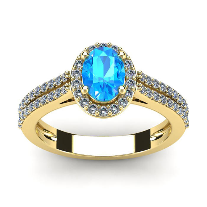 1.5 Carat Oval Shape Blue Topaz & Halo Diamond Ring in 14K Yellow