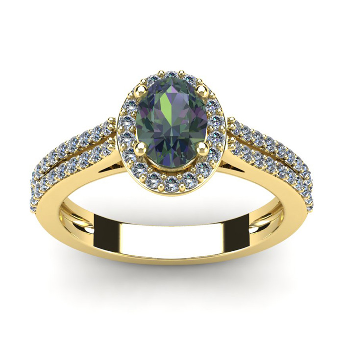 1.5 Carat Oval Shape Mystic Topaz & Halo Diamond Ring in 14K Yellow Gold (3.3 g), I/J by SuperJeweler