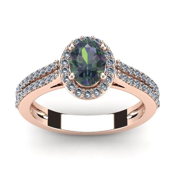 1.5 Carat Oval Shape Mystic Topaz & Halo Diamond Ring in 14K Rose