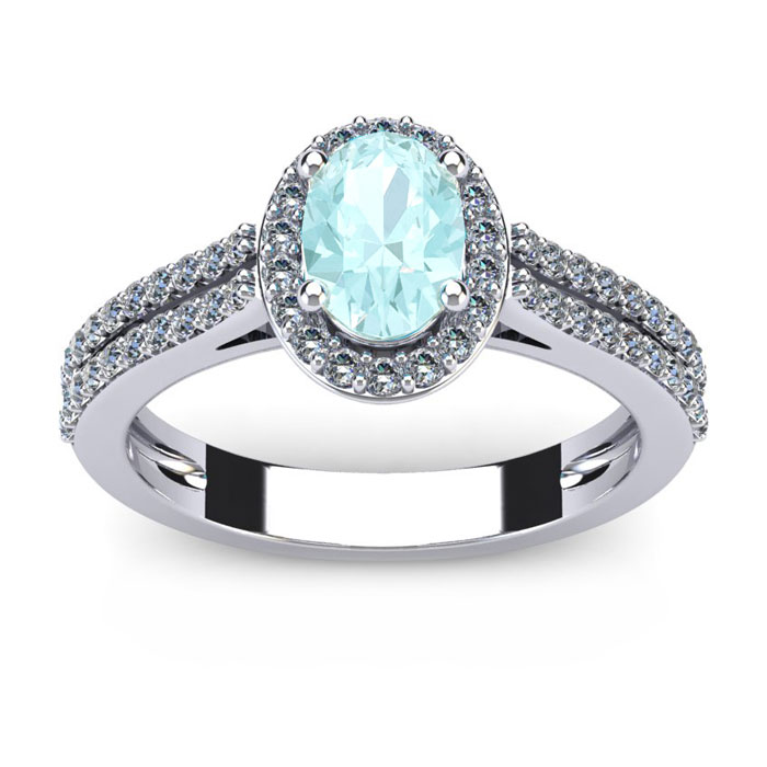 1 1/4 Carat Oval Shape Aquamarine and Halo Diamond Ring In 14 Karat White Gold