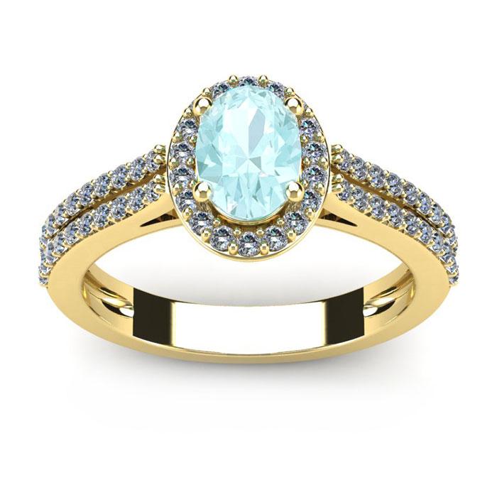 1.25 Carat Oval Shape Aquamarine & Halo Diamond Ring in 14K Yello