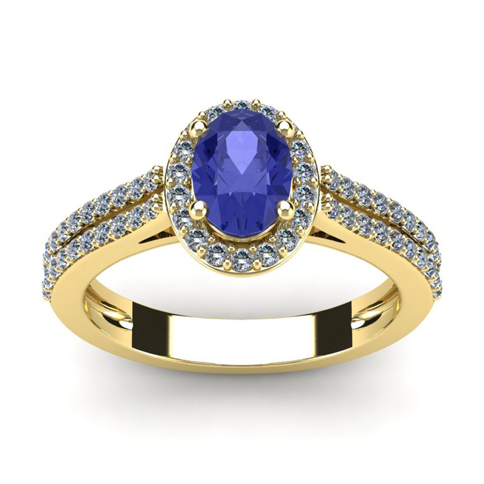 1 1/3 Carat Oval Shape Tanzanite & Halo Diamond Ring in 14K Yellow Gold (3.3 g), I/J by SuperJeweler