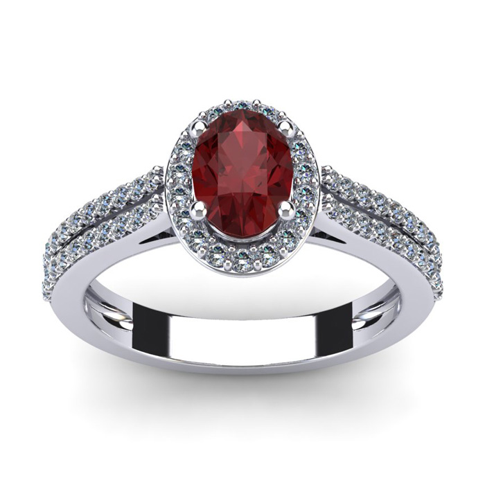 1 1/2 Carat Oval Shape Garnet and Halo Diamond Ring In 14 Karat White Gold