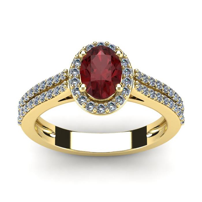 1.5 Carat Oval Shape Garnet & Halo Diamond Ring in 14K Yellow Gold (3.3 g), I/J by SuperJeweler
