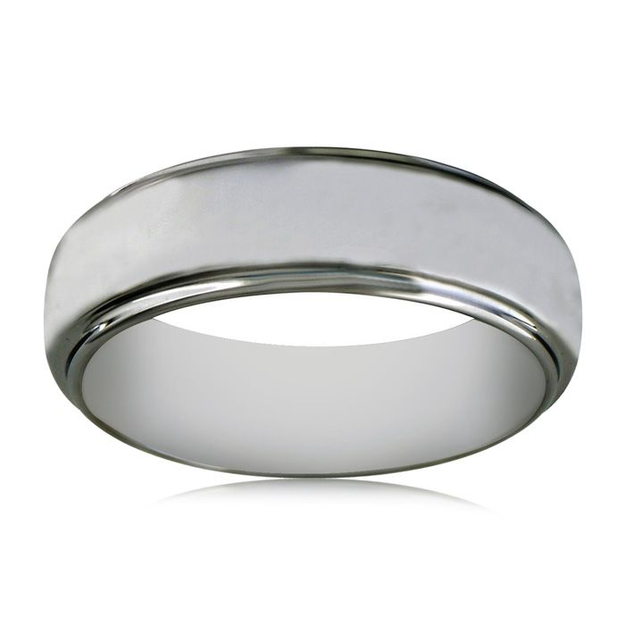7mm Tungsten Wedding Band with Raised Shiny