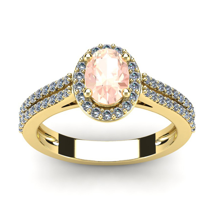 1.25 Carat Oval Shape Morganite & Halo Diamond Ring in 14K Yellow