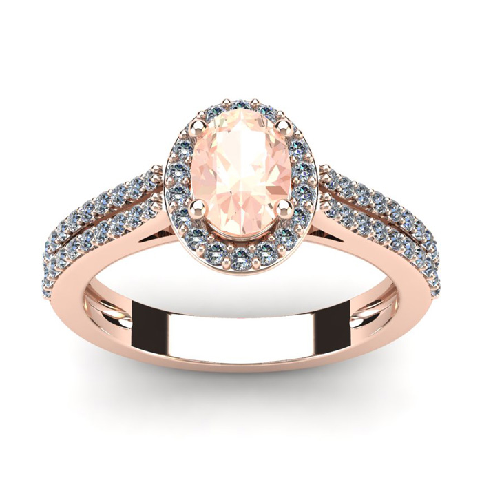 1.25 Carat Oval Shape Morganite & Halo Diamond Ring in 14K Rose G