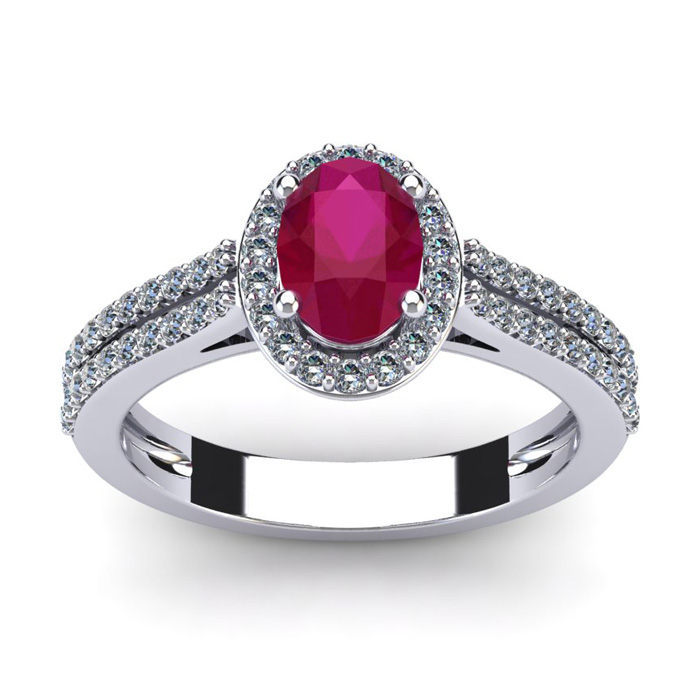 1 1/3 Carat Oval Shape Ruby & Halo Diamond Ring in 14K White Gold