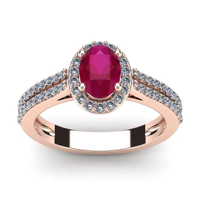 1 1/3 Carat Oval Shape Ruby & Halo Diamond Ring in 14K Rose Gold