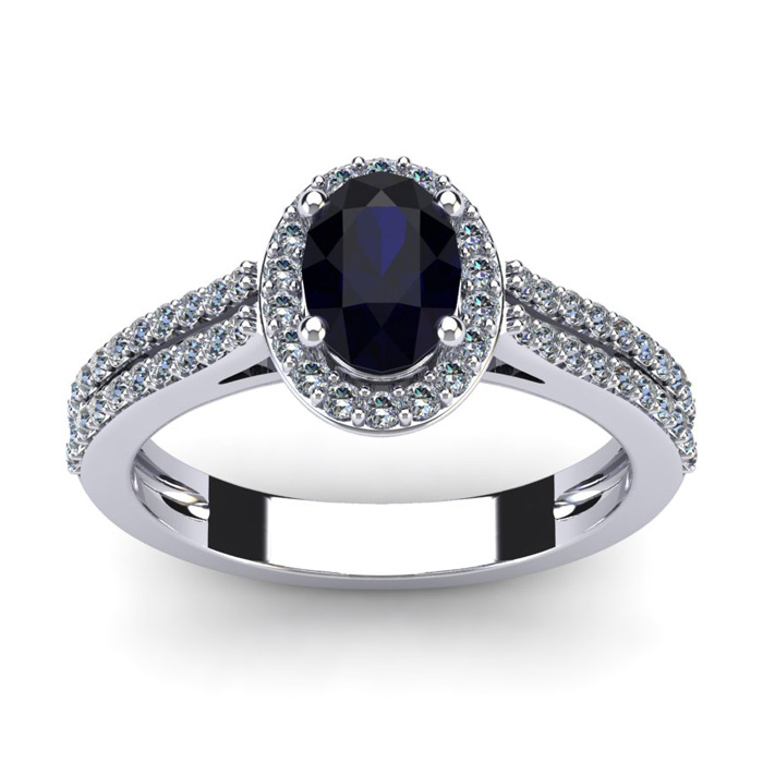 1.5 Carat Oval Shape Sapphire & Halo Diamond Ring in 14K White Gold (3.3 g), I/J by SuperJeweler
