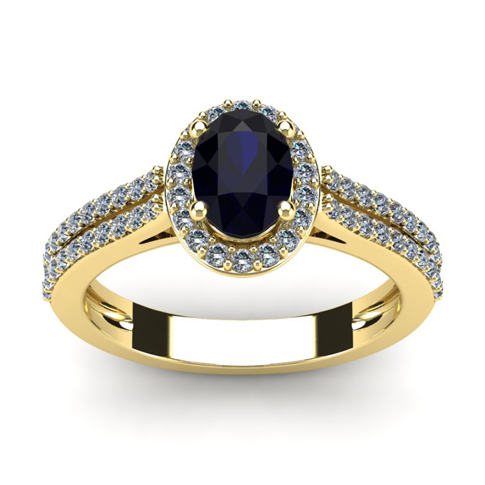 1.5 Carat Oval Shape Sapphire & Halo Diamond Ring in 14K Yellow G
