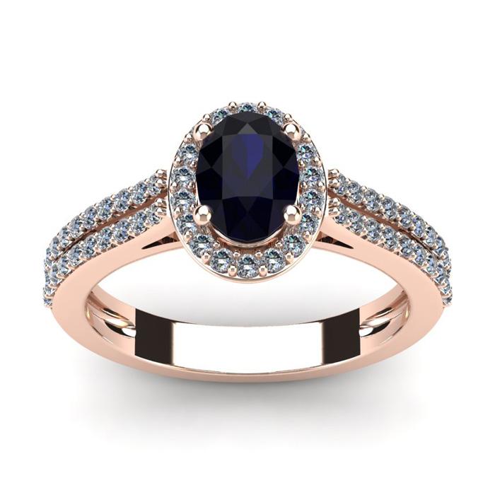 1.5 Carat Oval Shape Sapphire & Halo Diamond Ring in 14K Rose Gol